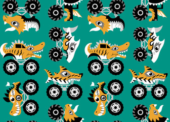 Scary animal monster truck vector set on blue background.