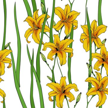 Seamless vector pattern of yellow lilies. Floral design for textile and Wallpaper.