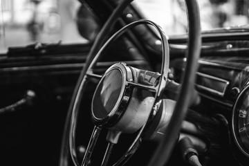 Retro car, retro torpedo car, vintage steering wheel, speedometer, recorder, clock, wooden,