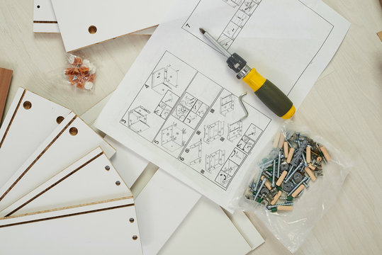 The furniture assembler joins together the two parts of the ready-to-assemble furniture with cam lock connections and wooden dowel pin, flat pack furniture assembly service, snap-together joints