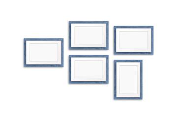Blank photo frames mock up, five grey blue realistic wooden frameworks on white background