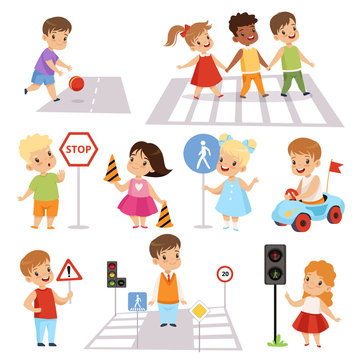 Cute Smiling Boys and Girls Crossing Streets and Learning Road Signs set, Traffic Education, Rules, Safety of Kids in Traffic Vector Illustration