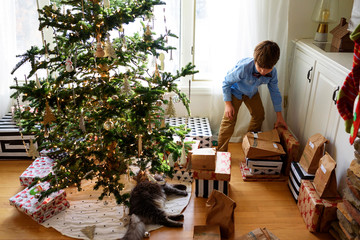 Boy standing by a Christmas tree looking at gifts