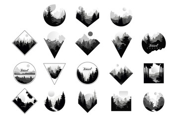 Set of monochrome landscapes in geometric shapes circle, triangle, rhombus. Natural sceneries with wild pine forests. Flat vector for company logo or camping logo