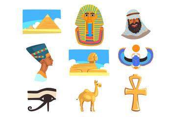 Flat vector set of Egyptian culture elements. Pyramids, camel, man in keffiyeh, Tutankhamen and Nefertiti, Great Sphinx of Giza, Ankh, eye of Horus and scarab beetle