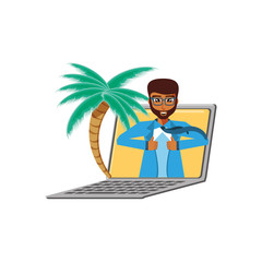 businessman unbuttoning his shirt in laptop with palms