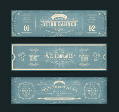Vintage Website Banners Templates/ Illustration of a set of retro design web header templates, with banners, floral patterns and ornaments on chalkboard wide background