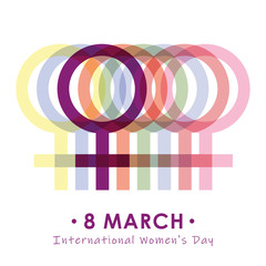 8th march international womans day colorful female symbol vector illustration EPS10