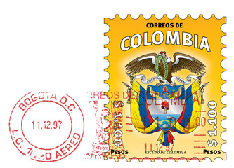 Colombian stamp. Escudo de Colombia. Yellow stamped