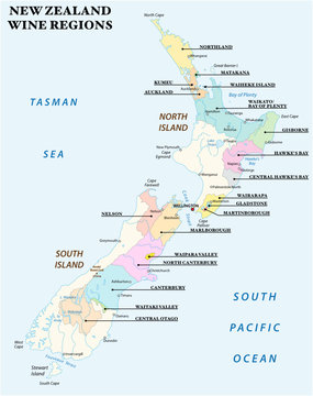 vector map with the most important wine regions of New Zealand
