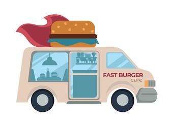 Fast burger cafe food truck with hamburger or cheeseburger on roof