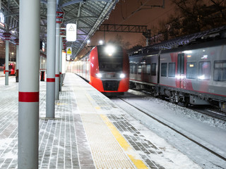 train arrival at station Panfilovskaya in Moscow