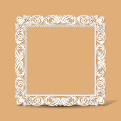 carved vintage frame made of paper photo with shadow