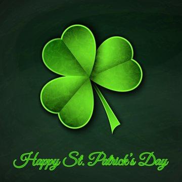 Green paper cut Happy Saint Patrick Day traditional symbol shamrock three leaf clover-trendy modern flyer concept on irish background,mockup banner design.Web online,cover,poster,brochure template