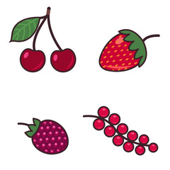 Colorful cartoon set illustration of different kinds of berries. Isolated on white.