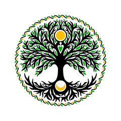 Tree of life with sun and moon
