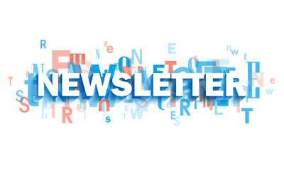 NEWSLETTER blue and coral typography banner