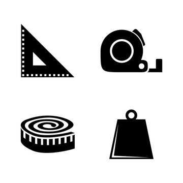 Measuring Tools, Rulers. Simple Related Vector Icons