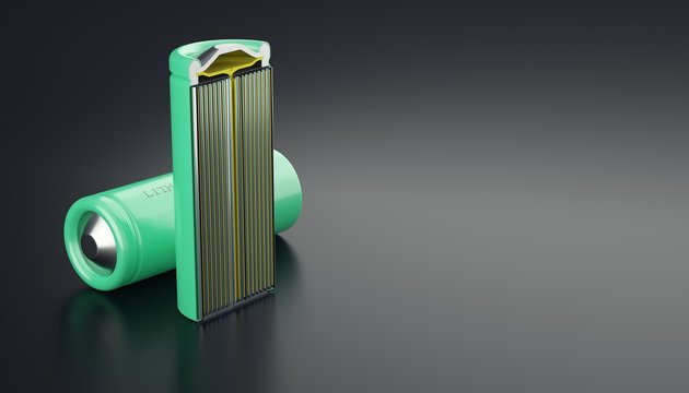Details of lithium cell, general view two batteries