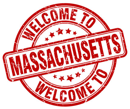 welcome to Massachusetts red round vintage stamp