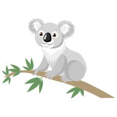Koala Bear On Wood Branch With Green Leaves. Australian Animal Funniest Koala Sitting On Eucalyptus Branch. Cartoon Vector Illustration. Koalas Are Not A Type Of Bear.