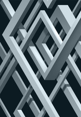 3D Twisted Composition of abstract plexus forms. Labyrinth shapes. Vector unreal construction on dark background