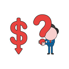 Vector businessman character with dollar arrow moving down and holding question mark. Color and black outlines.
