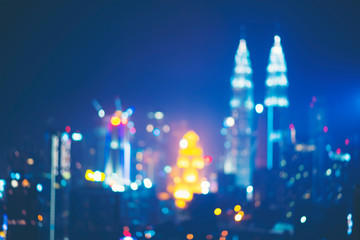 abstract blurry background of city view of Kuala Lumpur, Malaysia