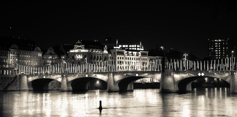 Basel bridge by night