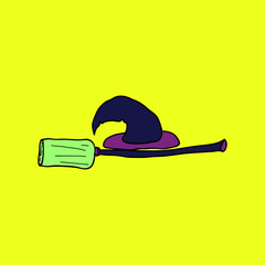 Witch hat and broom, colorful scary Halloween illustration. Vector