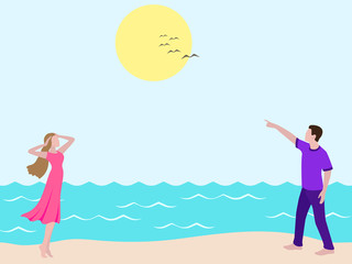 Young man showing to girl birds in the sky. Romantic couple walking on the beach. Man and woman on the walk looking up in sky. Boy and girl in casual clothes: purple female dress, violet male t shirt