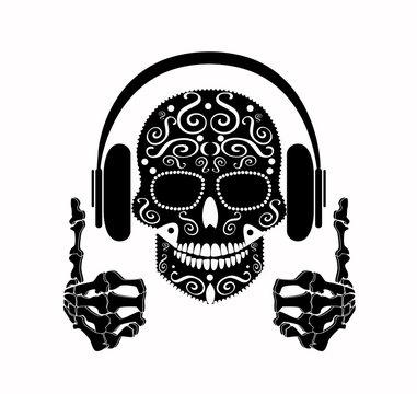 DJ Skull icon black and white