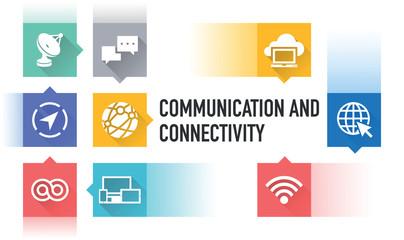 COMMUNICATION AND CONNECTIVITY FLAT ICON SET
