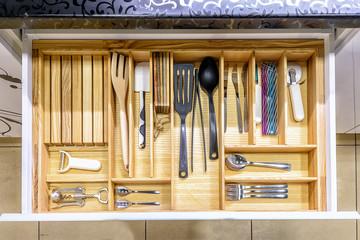 Fototapeta Opened kitchen drawer , a smart solution for kitchen storage and organizing obraz