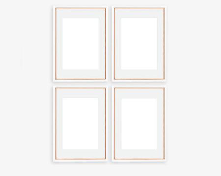 Set of 4 Rose Gold and White A4 A3 Frame Mockup Portrait Orientation