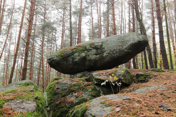 Rocking stone in the pine forest, Vindis village