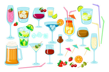 Set of coctails. classic Alcoholic drinks isolated on white background glass of champagne, margarita, brandy, whiskey with ice, cocktail, wine, vodka, tequila and cognac. Vector illustration