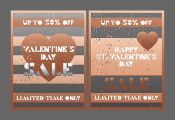 Happy Valentines Day. Sale cards for Valentines Day.