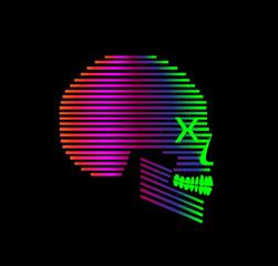 3D skull icon side view, purple vivid colors duotone vector background