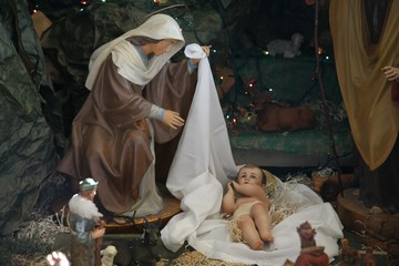 Nativity scene, The Church of the House of Peter, Capernaum, Israel