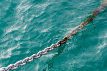 anchor chain lowered into the sea