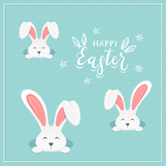 Lettering Happy Easter with Rabbits on Blue Background