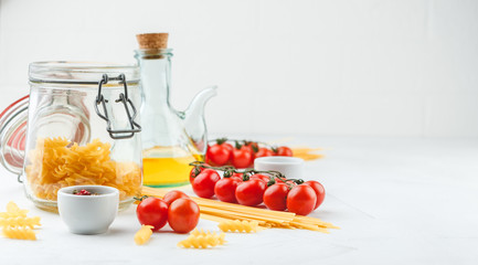 Italian Pasta with tomatoes, oil