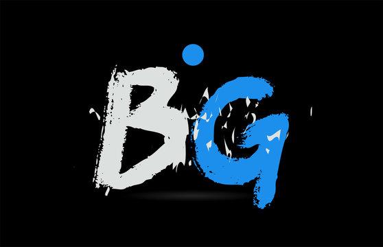 blue white alphabet letter combination BG B G logo design
