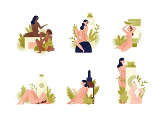 Set of promotional compositions with beautiful young naked women, exotic leaves and natural organic cosmetics products in giant bottles, jars, tubes for skin care. Flat cartoon vector illustration.