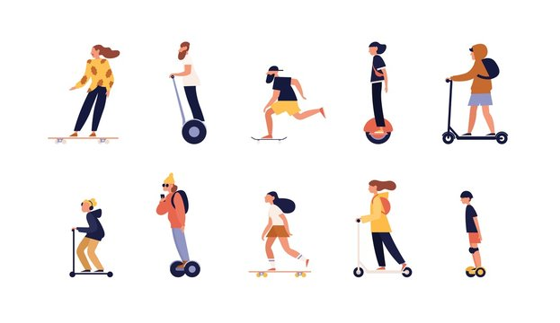 Collection of people riding skateboard, longboard and modern personal transporters - hoverboard or self-balancing board, electric unicycle, motorized kick scooter. Flat cartoon vector illustration.