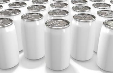 白色のアルミニウム缶 白い背景 3Dレンダリング