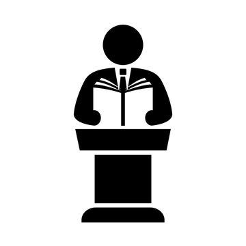 Speaker and podium vector pictogram