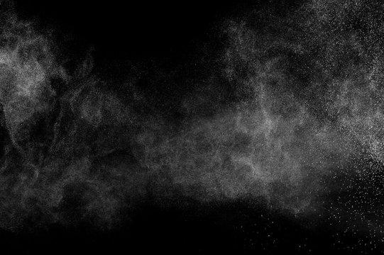 white powder effect splash for makeup artist or graphic design in black background