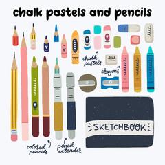 Art supplies hand drawn set